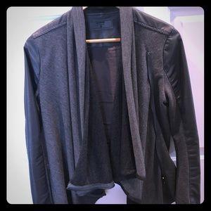 Blank NYC waterfall vegan leather jacket M gray